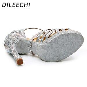 Image 4 - DILEECHI ラテンダンスシューズ女性シルバーグリッターラインストーンサラス社交ダンスシューズプラットフォーム 15 幅ヒール 10 センチメートルワルツミリメートル