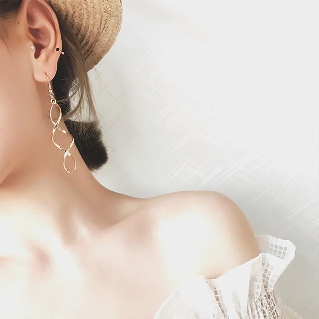 E0247 Fashion Double Loop Drop Earrings For Women Long Wave Dangle Earrings High Quality Statement Wedding.jpg 640x640 - E0247 Fashion Double Loop Drop Earrings For Women Long Wave Dangle Earrings High Quality Statement Wedding Jewelry Wholesale