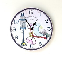 35CM Wood Bird Old town Clocks Zakka Pastoral Style Mute Rimless Circular Wall Clock Home Decoration Crafts