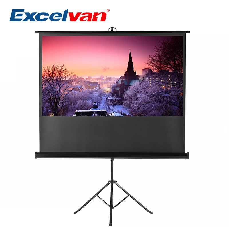 Excelvan 100 Diagonal 16:9 1.1 Gain Portable Pull Up Bracket Projector Screen For HD Movie Projection With Stable Stand Tripod fast free shipping 100 4 3 tripod portable projection screen hd floor stand bracket projector screen matt white factory supply