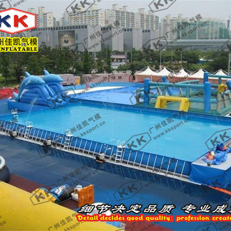 Inflatable Large Swimming Pool And Slide For Water Park