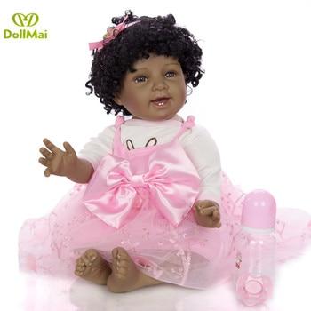 "NPK Black Skin reborn baby girl dolls  22"" Soft Silicone Realistic Curls Hair Baby Doll Toy Birthday Gift bebe alive reborn"