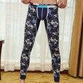 Brand mens long johns cotton Print Fashion men warm pants thin elastic line of   men underwear  tight legging long Johns