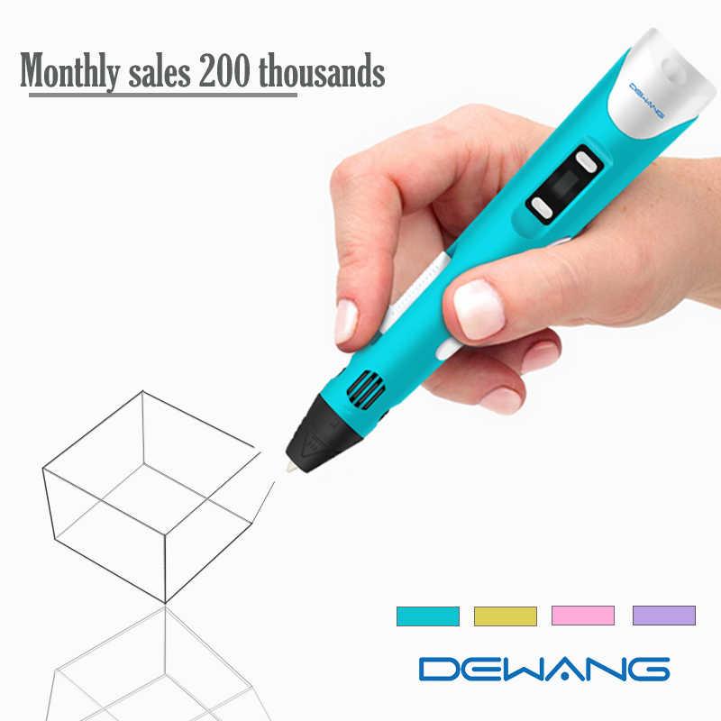 "Dewang מקורי 3D הדפסת עט 1.75 מ""מ ABS חכם 3d ציור עטים עם נימה LED תצוגת לילדים מתנות"