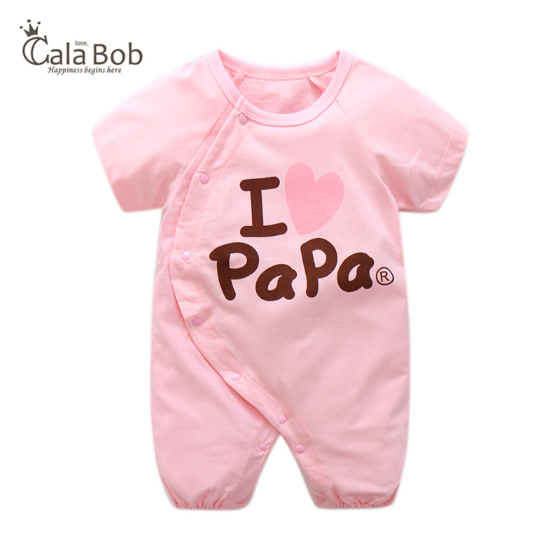 9d16ab80a84b CalaBob 2018 Summer Baby Romper Short Sleeve I Love Papa Mama Print Baby  Boy Girl Rompers Toddler Jumpsuit Newborn Baby Clothes