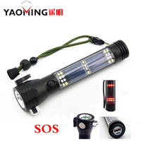 5000LM CREE XM-L T6 Multifunction Emergency Torch Lights USB Led Solar Flashlight With Safety Hammer Compass Magnet Power Bank