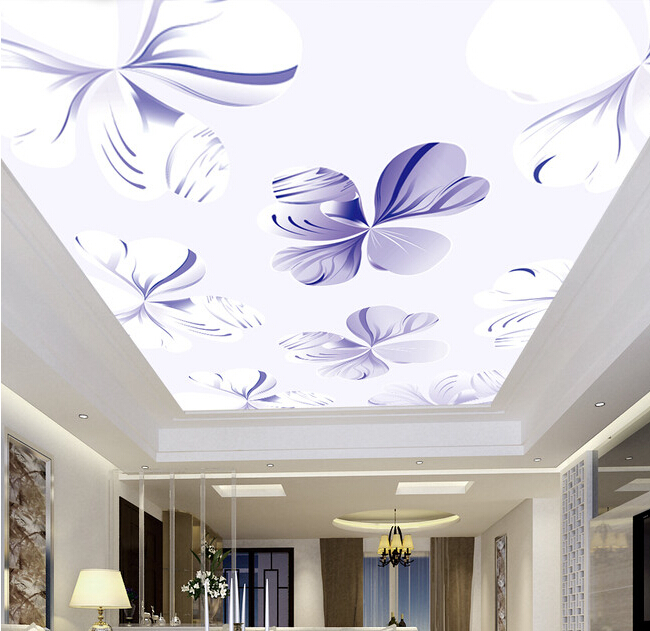 Custom 3D ceiling wallpaper. Fantasy flowers murals for the living room bedroom ceiling wall waterproof vinyl papel de parede custom ceiling wallpaper blue sky and white clouds murals for the living room apartment ceiling background wall vinyl wallpaper