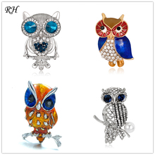 Vintage Metal Crystal Bird Owl Brooch For Women Brooch Collar Pins Corsage Rhinestone Animal Brooch Badges Jewelry Accessories