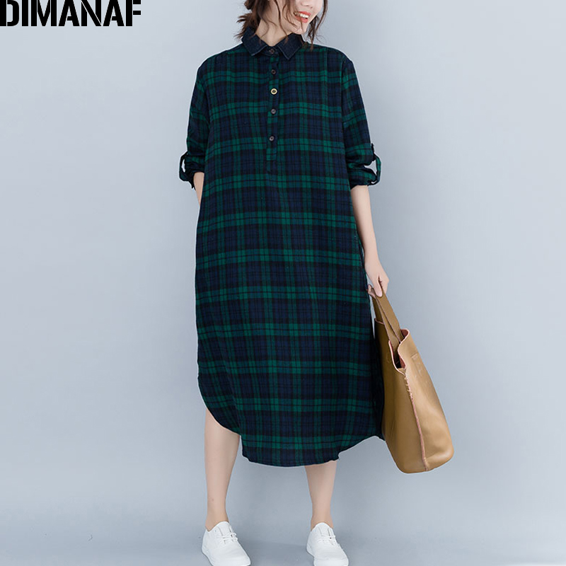 DIMANAF Women's Dresses Long Sleeve Cotton Vintage Female Clothing Big Sizes Vestidos Loose Print Plaid Ladies Dress 2018 Autumn