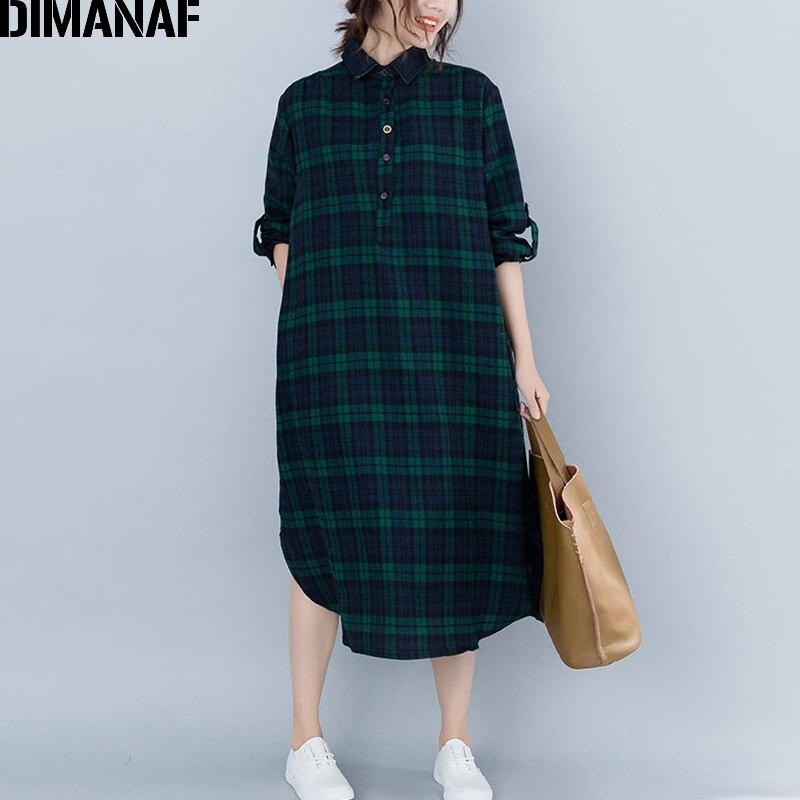 DIMANAF Women's Dresses Long Sleeve Cotton Vintage Female Clothing Big Sizes Vestidos Loose Print Plaid Ladies Dress 2018 Autumn