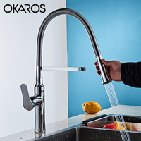 OKAROS Pull Out Kitchen Faucet Chrome Finish Dual Sprayer Nozzle Cold Hot Water Mixer Bathroom Swivel