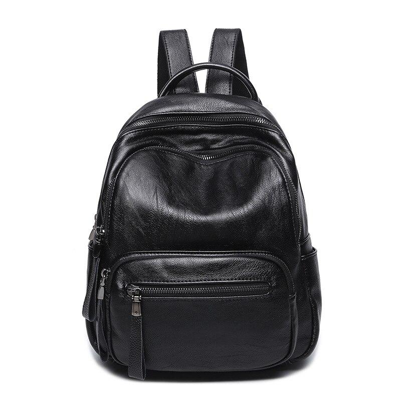 Fashion Travel Backpack Large Capacity Women Backpack Soft Zipper School Shoulder Bag Black