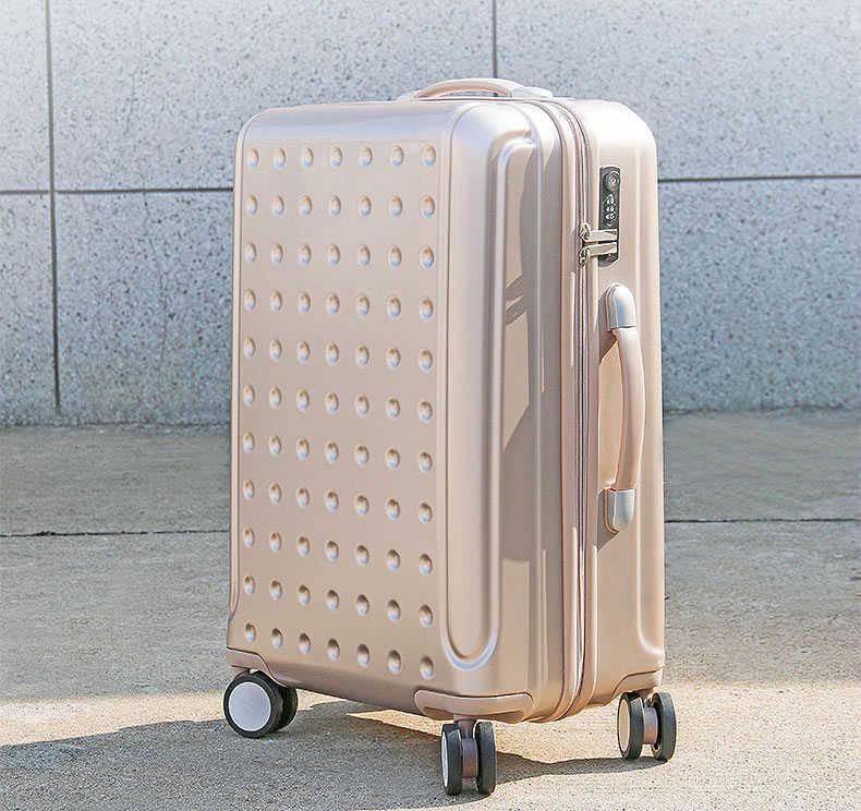 Rolando mala de viagem Bagagem caixa do trole da liga de Alumínio Spinner 20/24 polegada roda Mulher carry-on bagagem sacos de viagem de embarque