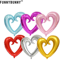 FUNNYBUNNY romantic heart shape aluminum foil balloons wedding birthday party decor