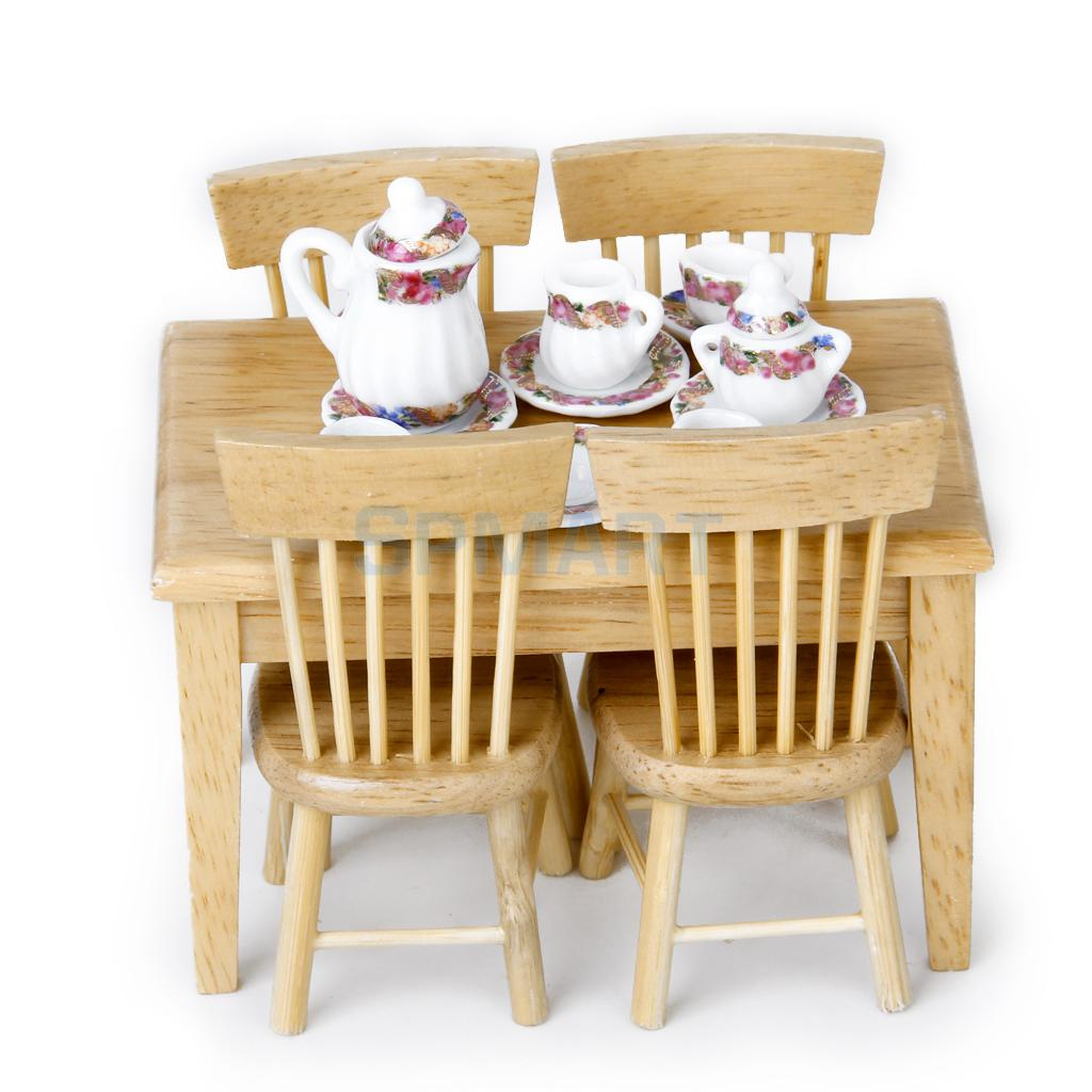 1/12 Dolls House Miniature Wood Furniture 5pcs Table Chair