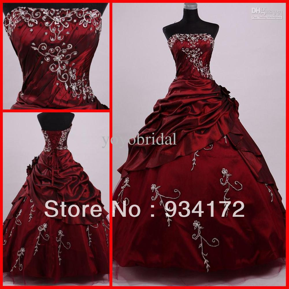 Latest Wedding Gowns 2014: 2014 Sexy Embriodery Beaded NEW Burgundy Ball Gowns