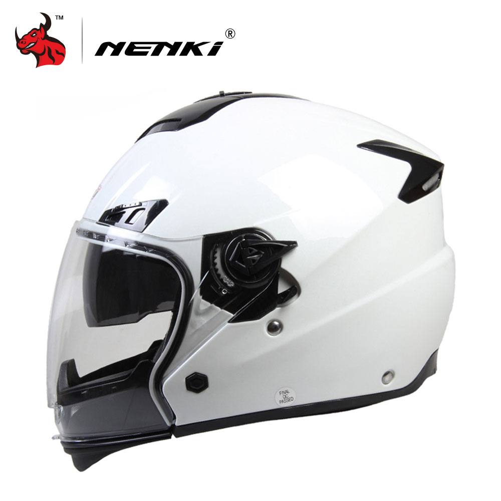 NENKI Motorcycle Full Face Helmet Unisex Motorbike Riding Street Motor Racing Helmet With Dual Visor Sun Shield Lens White