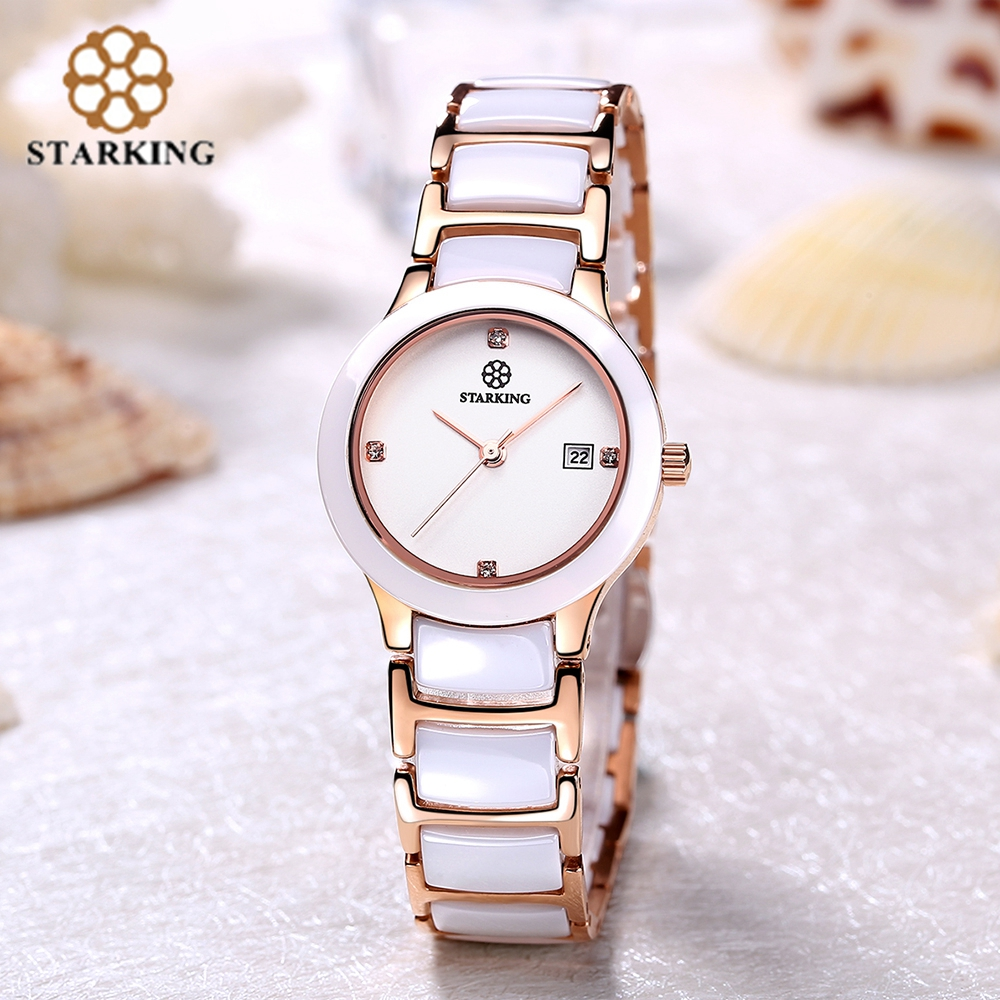 STARKING Ceramic Women Watch Dress Luxury Rose Gold Ladies Wrist Watch Japan Imports Quartz Movement Watches Relogio Feminino стоимость