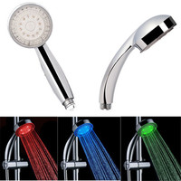 Water Power Colorful LED Shower Head Handheld Temperature Sensor Light Shower Head No Battery Bathroom Accessories
