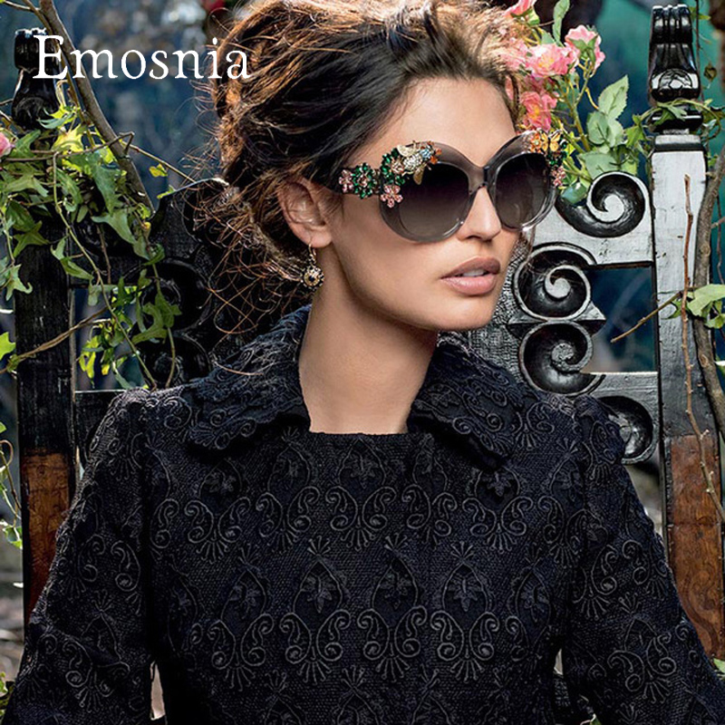 Emosnia Fashion New 2016 Brand Luxury Sunglasses Statement Women Jewelry Sun glasses Flower Decoration Vintage Gafas Oversized