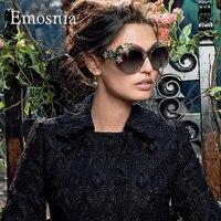 Emosnia Nuova Moda 2016 di Marca Occhiali Da Sole di Lusso Dichiarazione Monili Delle Donne occhiali da Sole Decorazione Floreale Vintage Occhiali Oversize