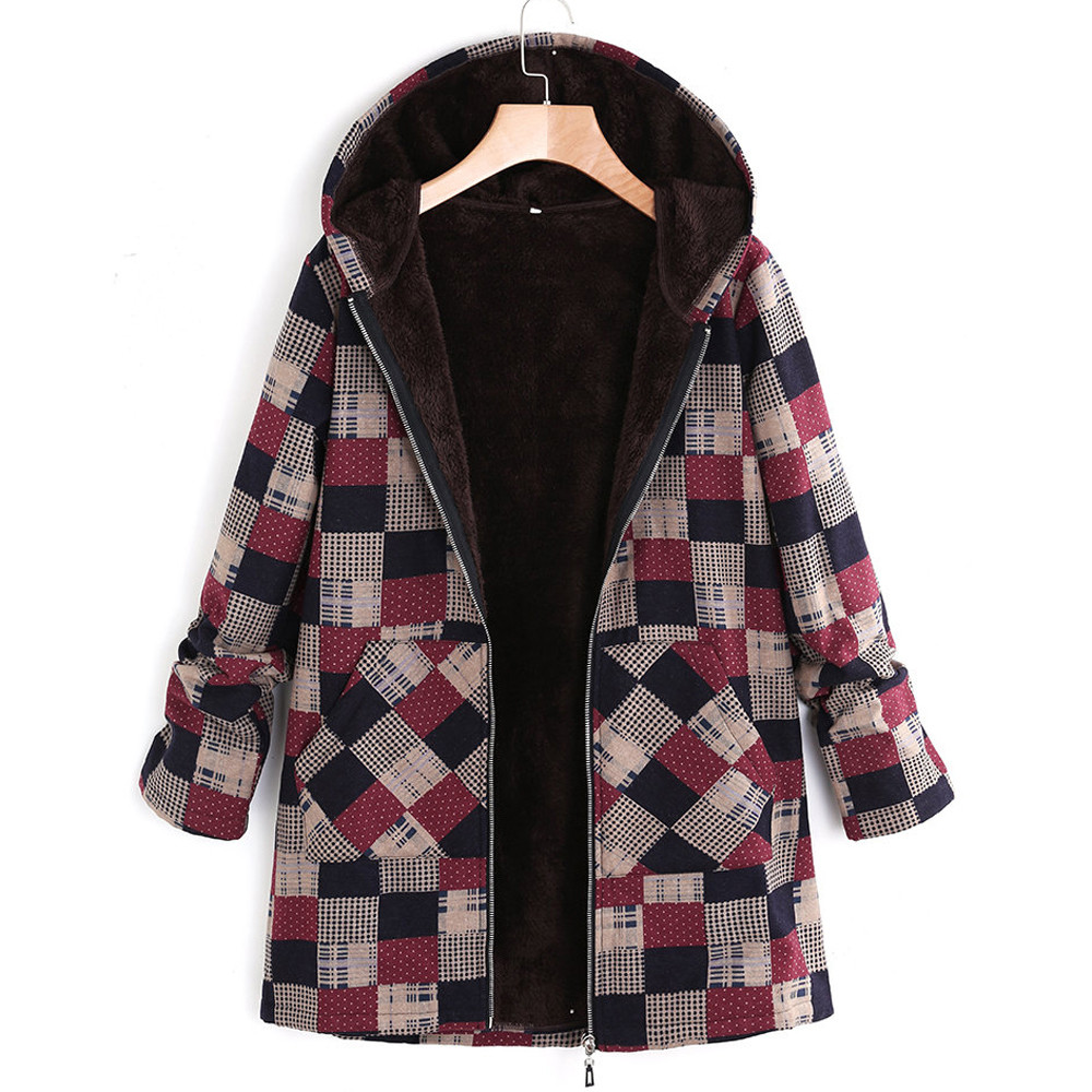 Plus Size Women Hooded Long Sleeve Cotton Linen Fluffy Fur Zipper Coat Outwear Plus Size 3XL 4XL 5XL
