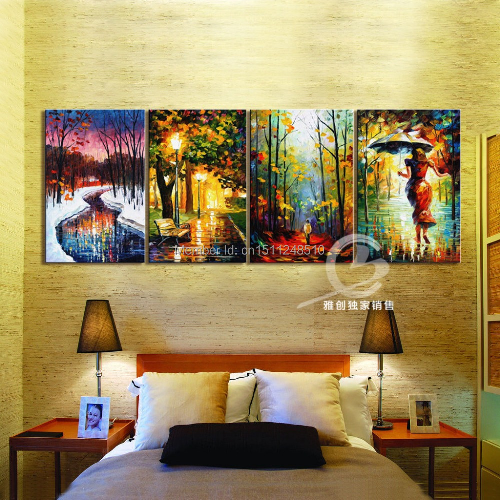 Seasons    4P Large Abstract Modern art TOP Decor ART OIL Painting Free  shipping costOil Painting Cost Promotion Shop for Promotional Oil Painting Cost  . Cost To Paint A Large Living Room. Home Design Ideas