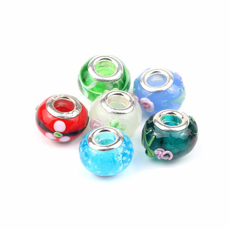 10 unids/lote 14mm diseño mixto europeo Rondelle, cuentas de vidrio de gran agujero con núcleos plateados, cuentas espaciadoras para pulsera