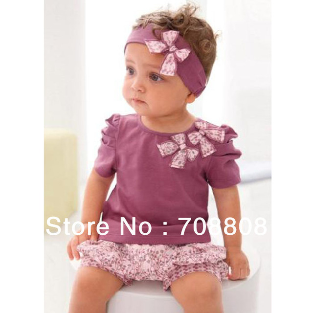 free shipping cotton Baby Girls' Clothing Set baby garment beautiful outfit Top+Pants+Headband for the 1-2 years old kid