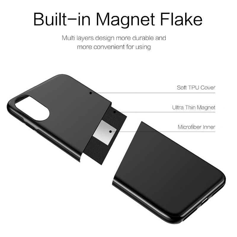 ZRSE Magnetic Car Phone Case for iPhone 6S 7 8 Plus X Invisible Magnet Plate Soft TPU Shockproof Phone Cover for iPhone 6 XS XR