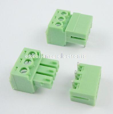 цена на 50 Pcs 3.81mm Pitch 3 Pin Angle Screw Pluggable Terminal Block Plug Connector