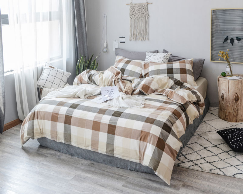 plaid 100% Yarn Dyed Washed Cotton luxury bedding sets Duvet Cover Sheet Pillowcase Bed Set queen king full size ropa de camaplaid 100% Yarn Dyed Washed Cotton luxury bedding sets Duvet Cover Sheet Pillowcase Bed Set queen king full size ropa de cama