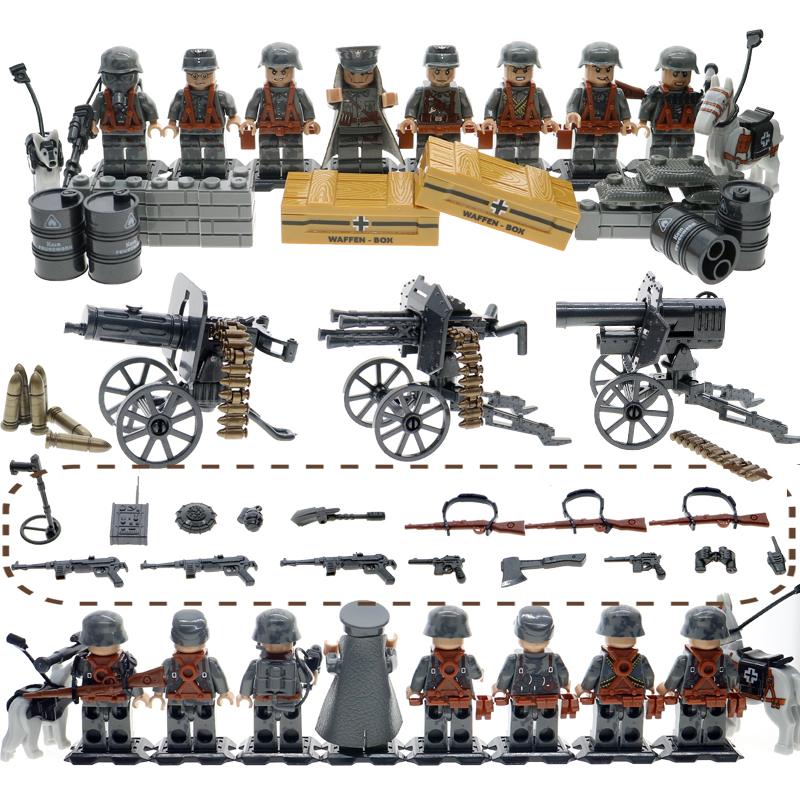 WW2 Mini Brick Compatible Legoinglys Military Army SWAT Soilders Building Blocks sets With Weapons accessories toys for Children military city police swat team army soldiers with weapons ww2 building blocks toys for children gift