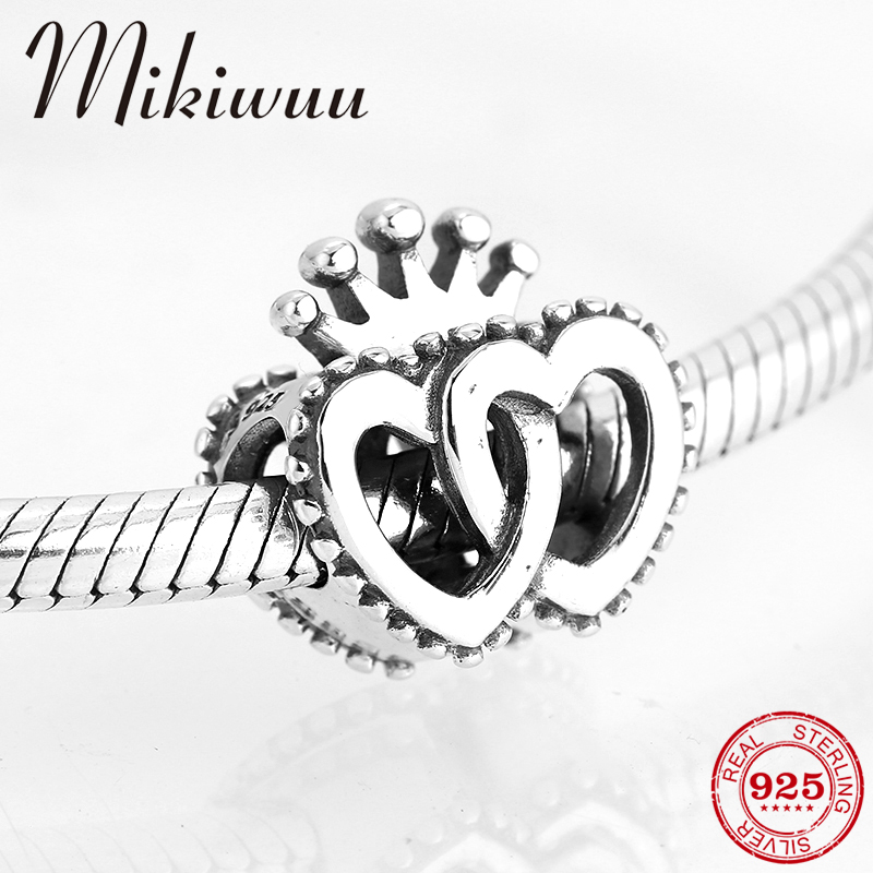 925 Sterling Silver Fine Double Heart Link Crown Valentine Gift Beads Jewelry Making Fit Original Pandora Charm Bracelet