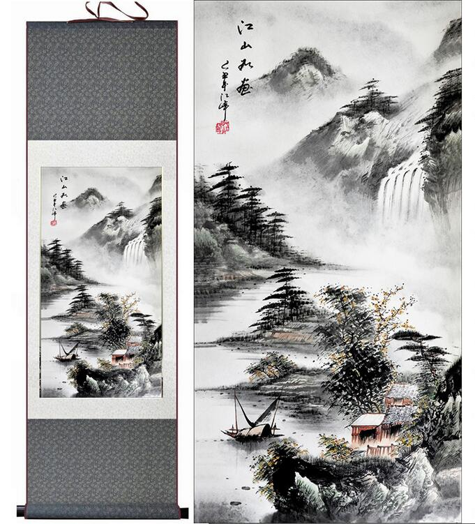 Free shipping landscape painting Home Office Decoration Chinese scroll painting Mountains and river painting