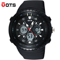 OTS Digital Quartz Watch sports men Watches LED 50M Professional Waterproof large dial hours military wristwatches 2016 fashion
