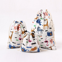 2 pcs DIY Jewelry Cosmetic Pouch Animal Printing Household Fashion Pure Cotton Storage bag Environmental protection M203