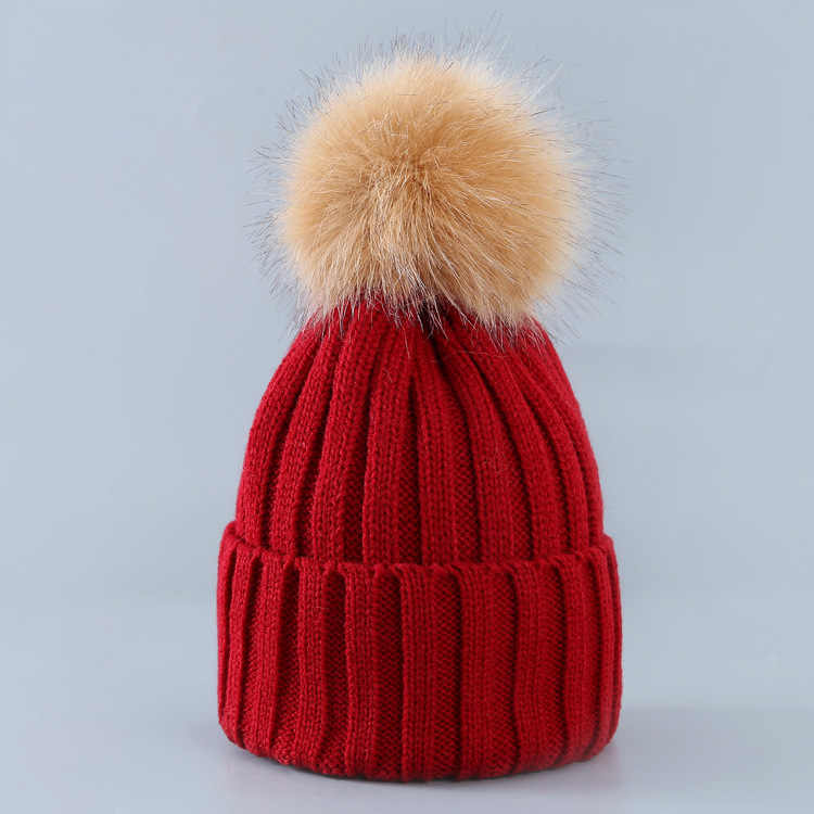 Cute Winter Mom Women Baby Kids Crochet Knitted Hat Caps Children Girl Boy Wool Fur Bobble Ball Pompom Beanies Hats