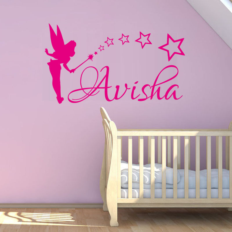 Custom Any Name Home Decor Art Sticker Fairy and Stars ... on Room Decor Stickers id=28687