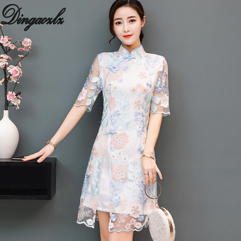 Dingaozlz elegant female embroidery stitching casual dress Vestidos Improved Cheongsam lace dress 2018 new retro dress