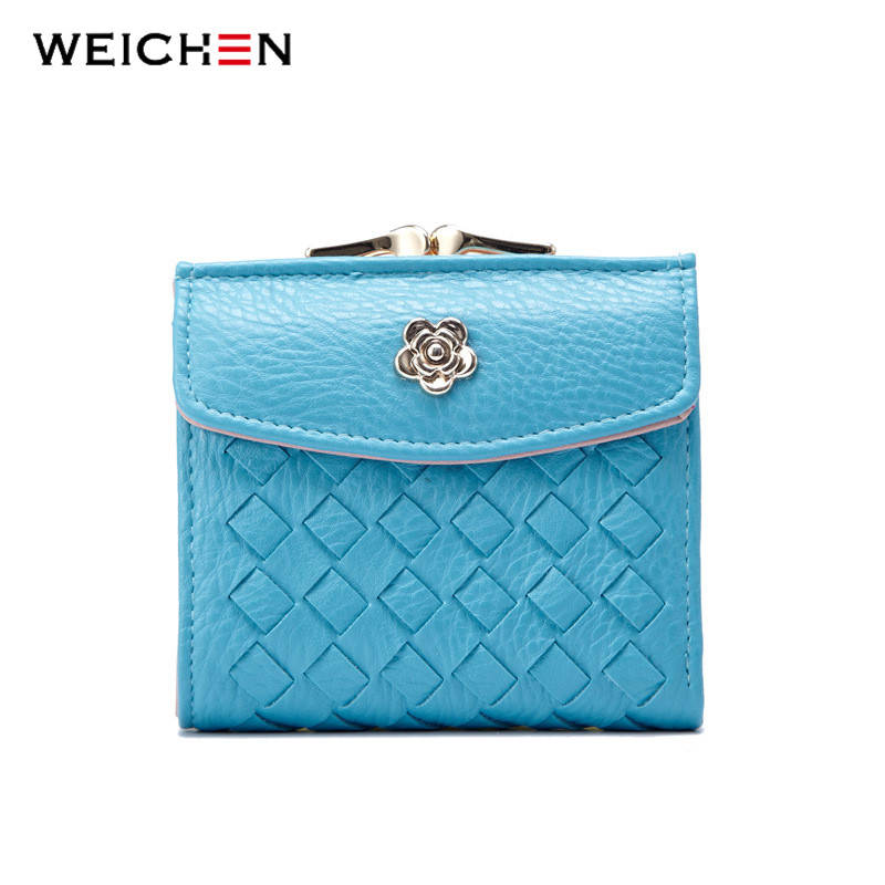 WEICHEN New Designer Brand Fashion Women Wallets Mini Purse Lady Small Braid Leather Wallet Coin Pocket Knitting Card Holder гироскутер hoverbot a 6 blue