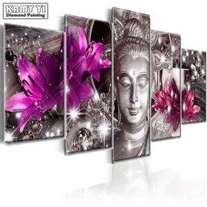Image 2 - Full Vuông Mũi Khoan Kim Cương Thêu Hoa Huệ Tượng Phật 5D Tự Làm Tranh Gắn Đá Đeo Chéo Nhiều Hình Trang Trí Nhà Cửa