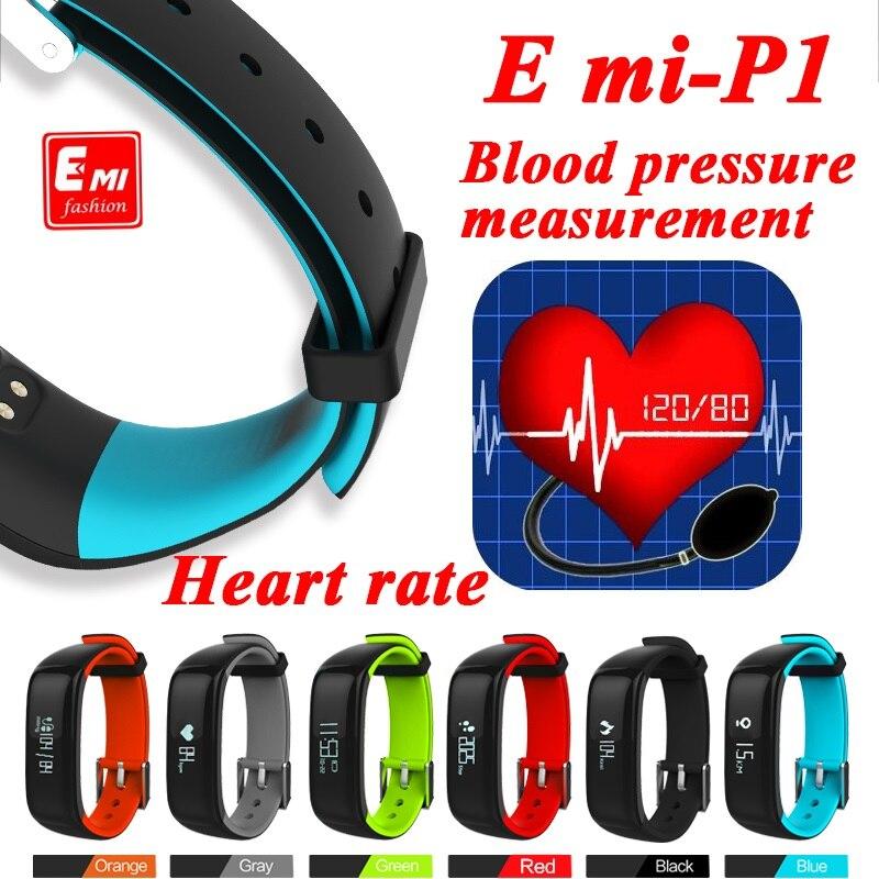 imágenes para P1 Smartband Monitor de Presión Arterial Monitor de Ritmo Cardíaco de Bluetooth Pulsera Pulsera Inteligente Usable 0.86 OLED IP67 A Prueba de agua