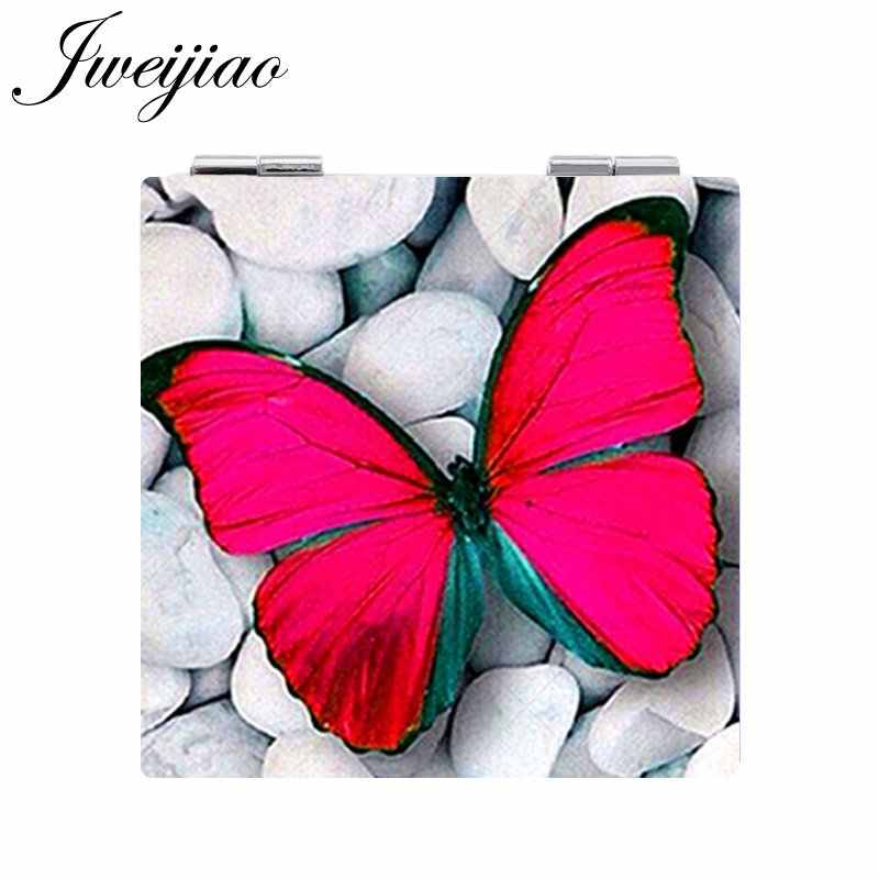 JWEIJIAO ART Photo Butterfly Pocket Mirrors Square shaped 1X/2X Magnifying Folding Mini PU Leather espejo Makeup Mirrors