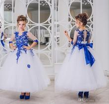 2017 New Lovely Royal Blue Lace Appliques Flower Girl Dresses Half Sleeve With Bow Sash Ankle Length Girl Pageant Gowns FH33
