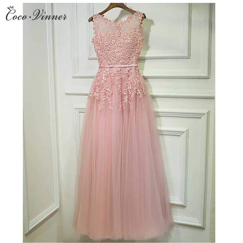 C.V Lace Embroidery Long Evening dress 2018 fashion boat neck plus size banquet one-piece dress pink formal party dress E0023
