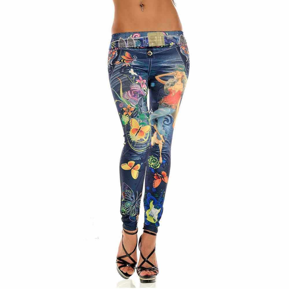 JAYCOSIN ropa de Mujer pantalones vaqueros Sexy ajustados elásticos pantalones vaqueros de moda Casual de las señoras de impresión pintada vaqueros delgados Mujer 2019