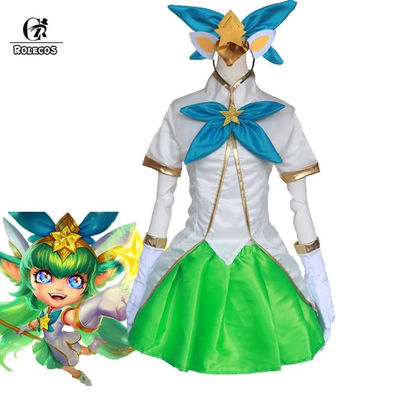 ROLECOS LOL Star Guardian Cosplay Costume LOL Lulu Cosplay The Fae Sorceress Costume Women Dress Magic Girl Game Gloves Sock
