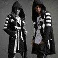 Hombres moda con capucha larga chaqueta de trinchera abrigo rompevientos abrigo suelta moda de la calle de hip-hop prendas de vestir exteriores de color negro blanco, Q91
