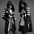 Men fashion hooded long jacket trench coat black white color windbreaker loose overcoat street fashion hip-hop outerwear ,Q91